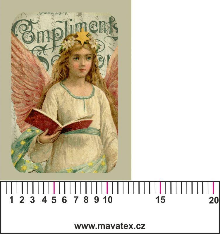 Panelový tisk - vintage anděl 2 - satén- obrázky na látce, designový tisk, tisk na přání Tukan