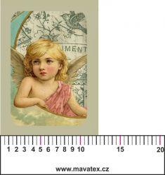 Panelový tisk - vintage anděl 1 - satén