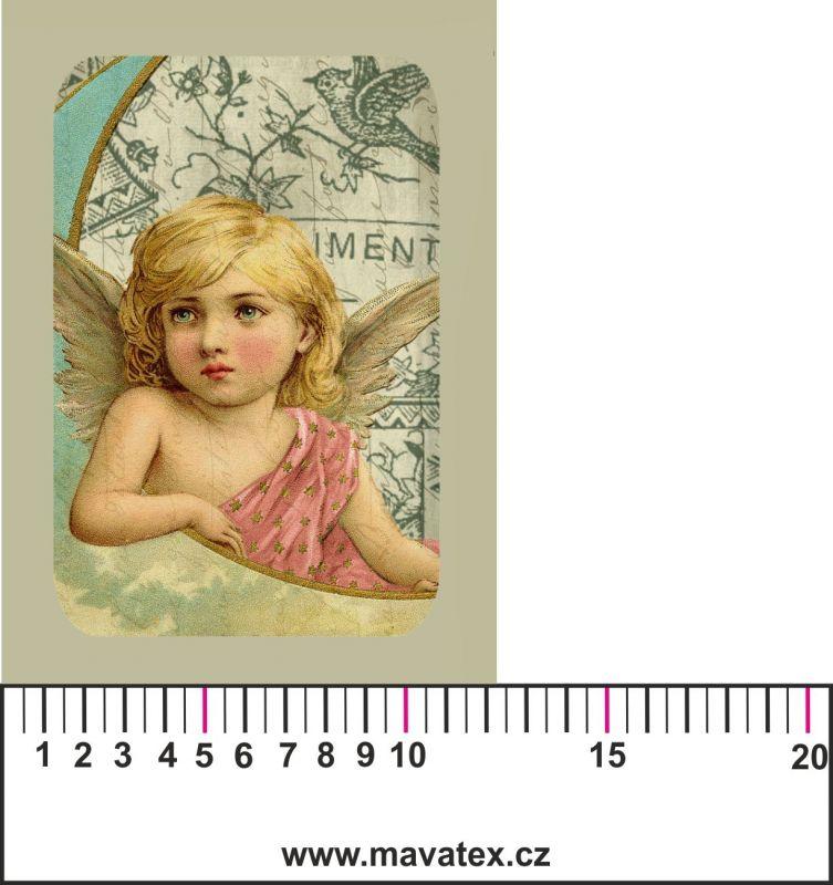 Panelový tisk - vintage anděl 1 - satén- obrázky na látce, designový tisk, tisk na přání Tukan