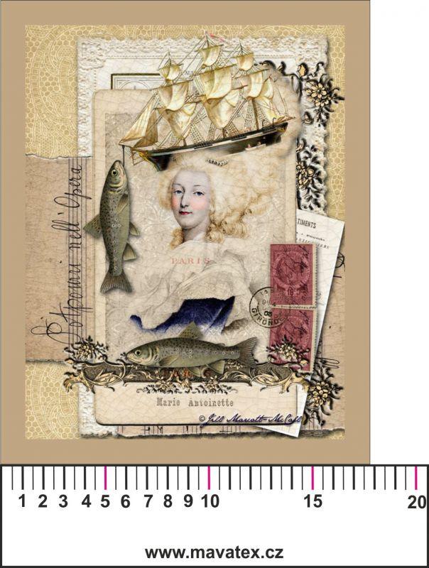 Panelový tisk - vintage Antoneta - satén- obrázky na látce, designový tisk, tisk na přání Tukan
