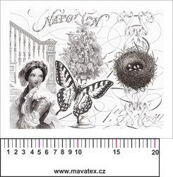 Panelový tisk - černobílá pohlednice s dívkou - satén