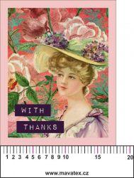 Panelový tisk vintage pohlednice dívka 6- satén