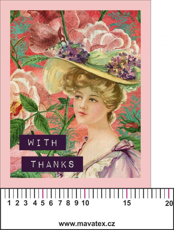 Panelový tisk vintage pohlednice dívka 6- satén - obrázky na látce, designový tisk, tisk na přání Tukan