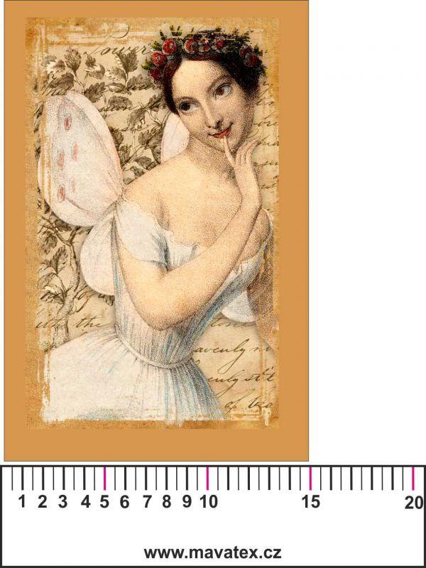 Panelový tisk vintage pohlednice dívka 5- satén- obrázky na látce, designový tisk, tisk na přání Tukan