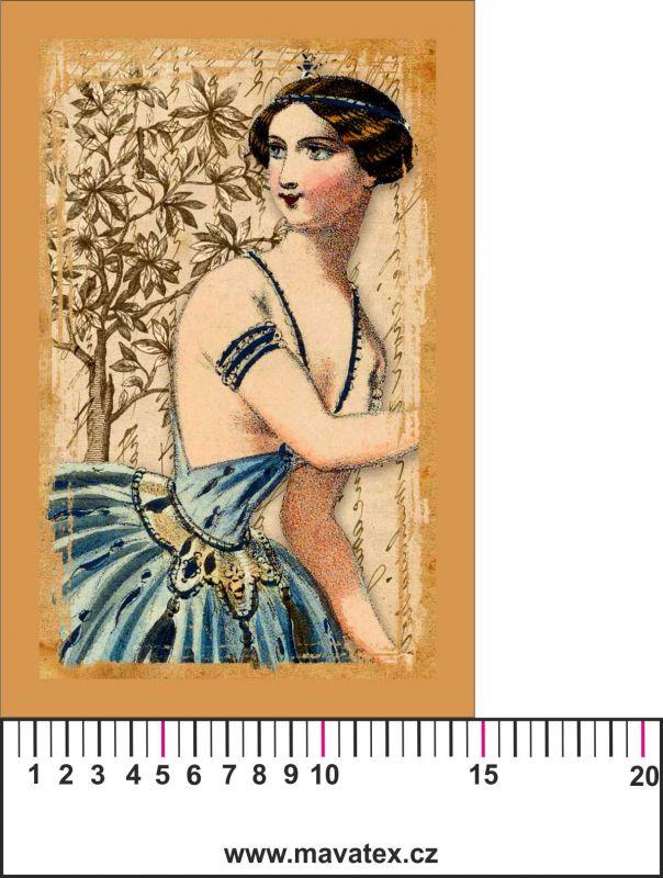 Panelový tisk vintage pohlednice dívka 4- satén - obrázky na látce, designový tisk, tisk na přání Tukan
