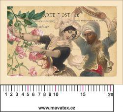 Panelový tisk vintage pohlednice dívka 3- satén