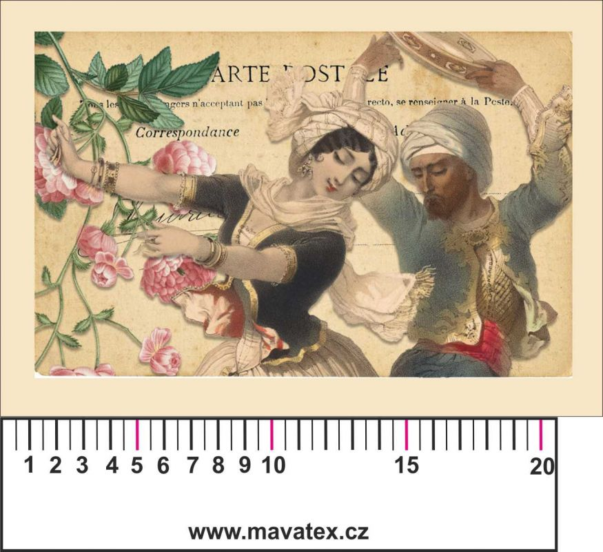 Panelový tisk vintage pohlednice dívka 3- satén- obrázky na látce, designový tisk, tisk na přání Tukan