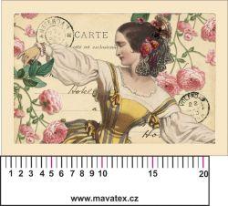 Panelový tisk vintage pohlednice dívka 2- satén