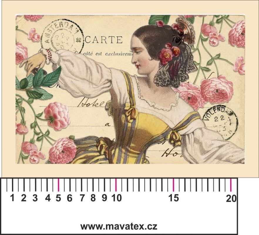 Panelový tisk vintage pohlednice dívka 2- satén - obrázky na látce, designový tisk, tisk na přání Tukan