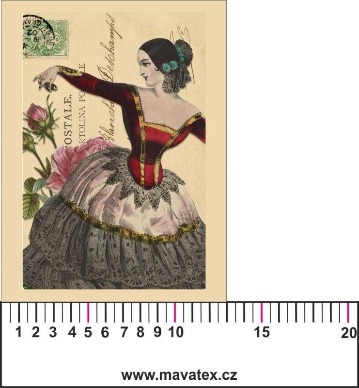 Panelový tisk vintage pohlednice dívka 2- satén- obrázky na látce, designový tisk, tisk na přání Tukan