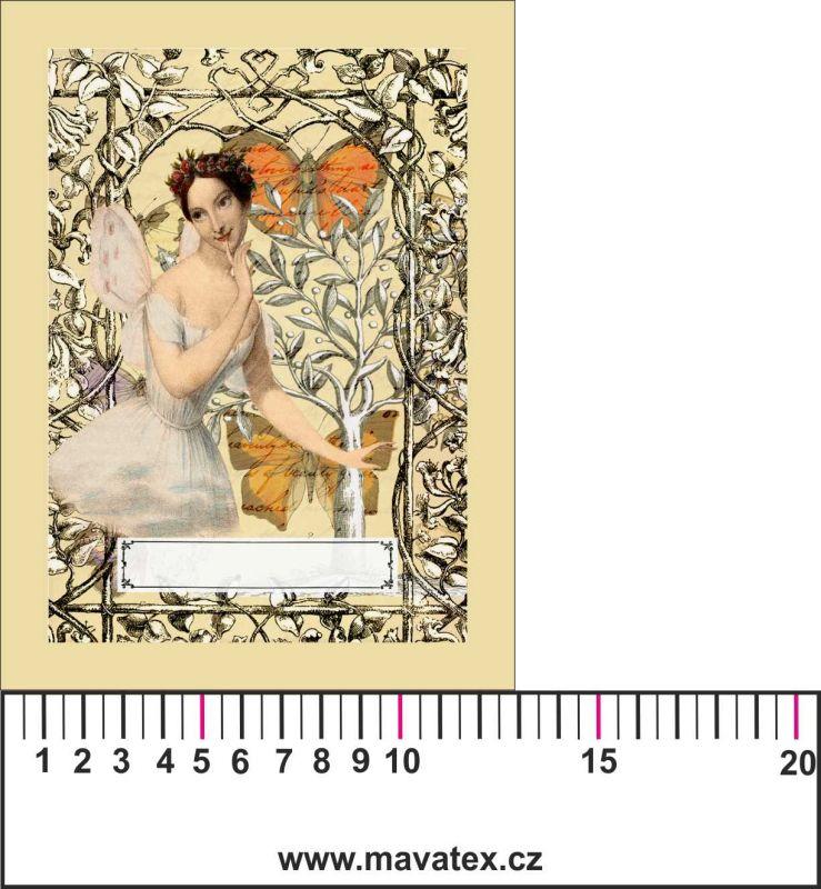 Panelový tisk vintage pohlednice víla 1- satén- obrázky na látce, designový tisk, tisk na přání Tukan