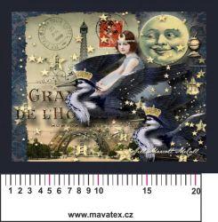 Panelový tisk -půlnoční vintage pohlednice-satén