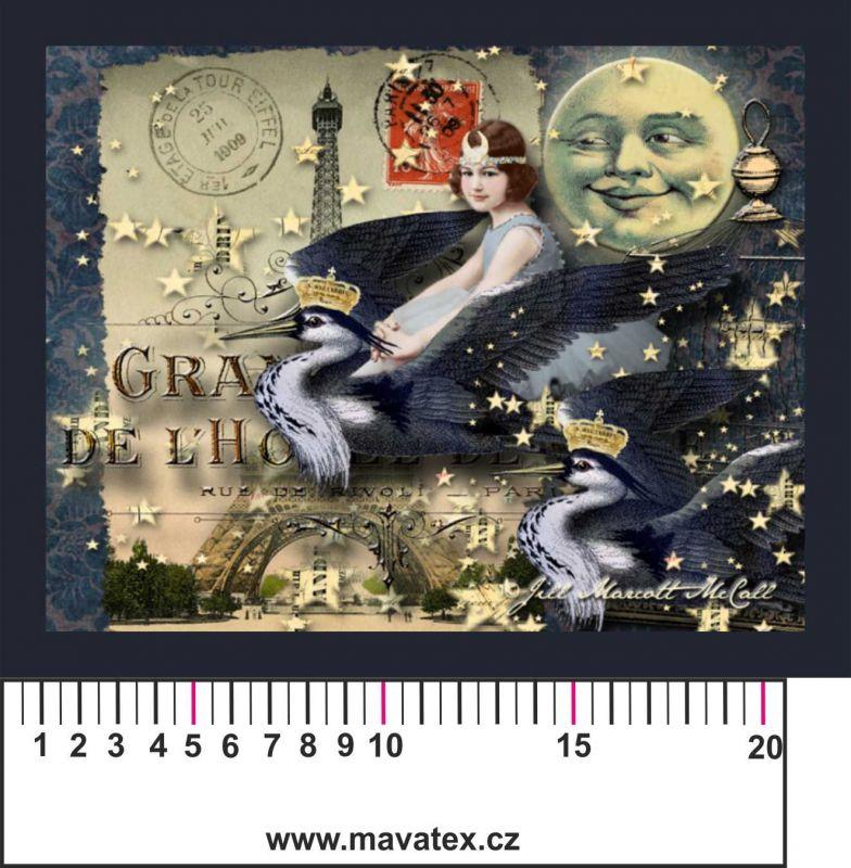 Panelový tisk -půlnoční vintage pohlednice- satén - obrázky na látce, designový tisk, tisk na přání Tukan