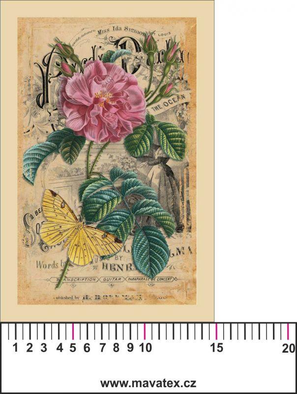 Panelový tisk -vintage pohlednice růže a motýl 3 satén- obrázky na látce, designový tisk, tisk na přání Tukan