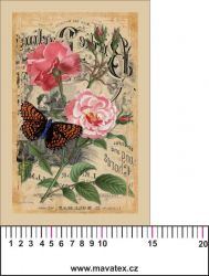 Panelový tisk -vintage pohlednice velká růžová růže a motýl-satén