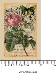 Panelový tisk -vintage pohlednice růže a motýl 2- satén