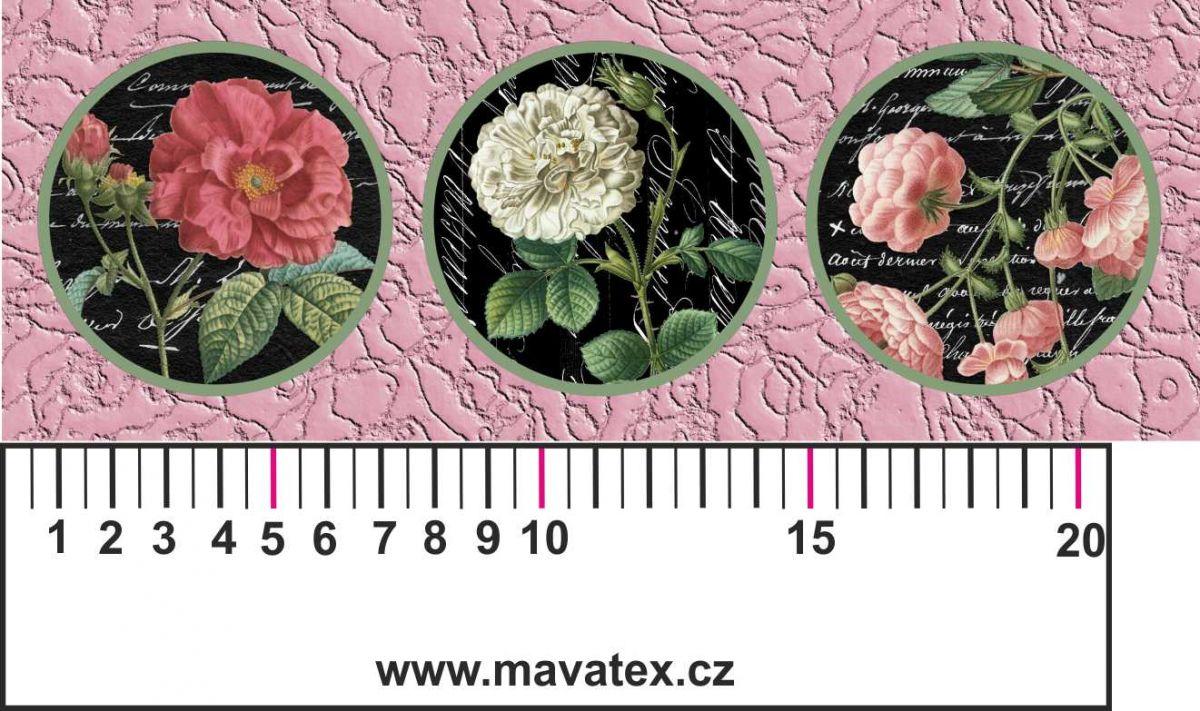 Panelový tisk -vintage pásek růžový s růžemi- satén- obrázky na látce, designový tisk, tisk na přání Tukan