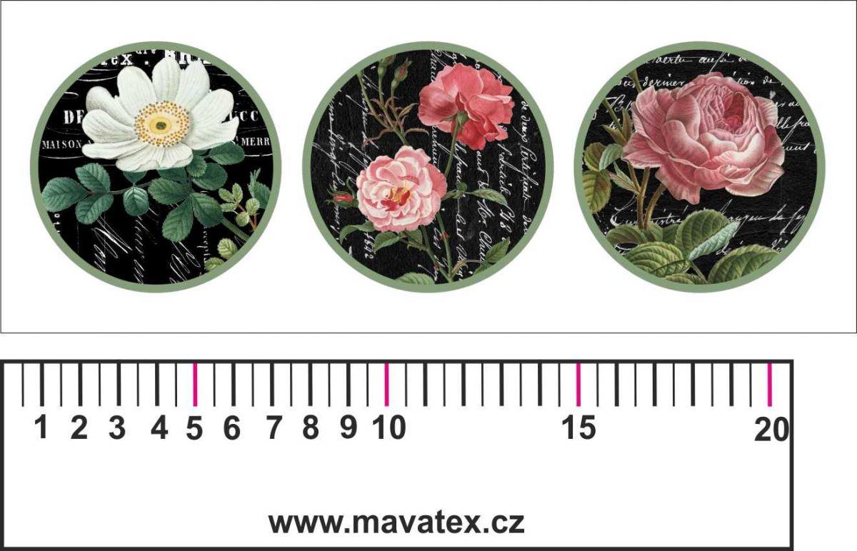 Panelový tisk -vintage pásek bílý s růžemi-satén- obrázky na látce, designový tisk, tisk na přání Tukan