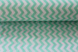 Bílá látka s mentolkovým cik cak vzorem vyrobeno v EU- atest pro děti bavlna