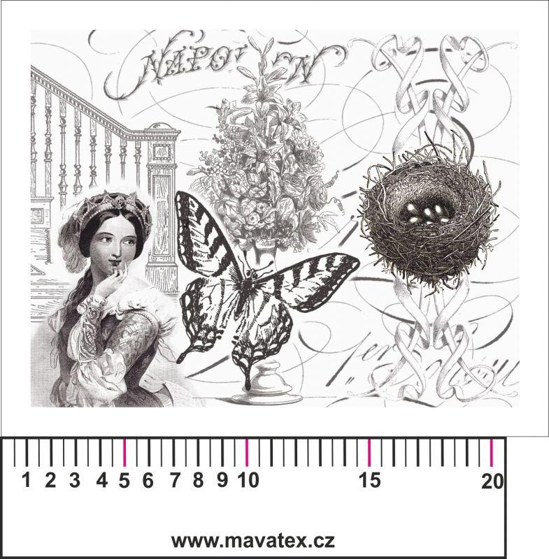 Panelový tisk - černobílá pohlednice s dívkou - kepr - obrázky na látce, designový tisk, tisk na přání Tukan