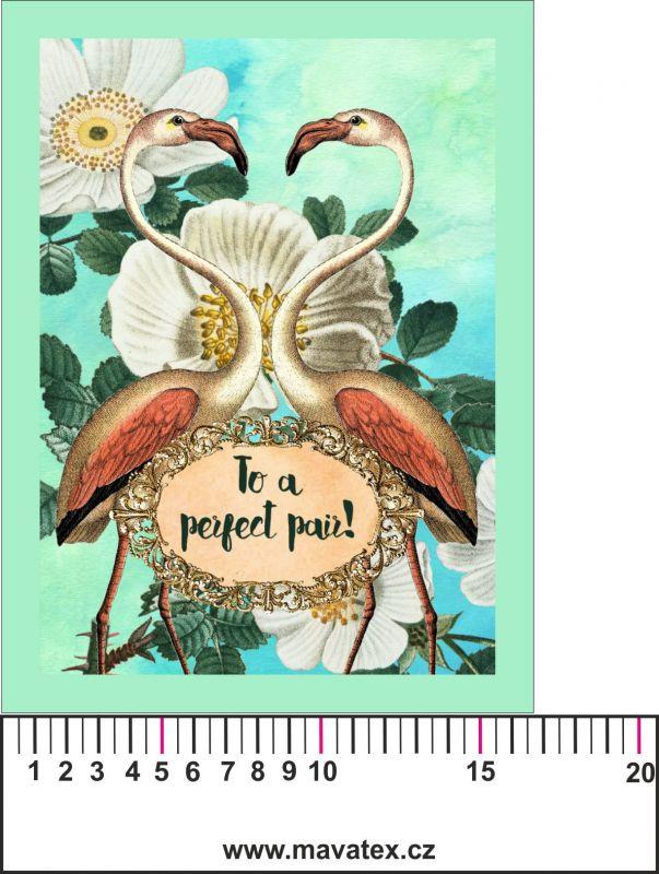 Panelový tisk - vintage plameňáci - kepr - obrázky na látce, designový tisk, tisk na přání Tukan