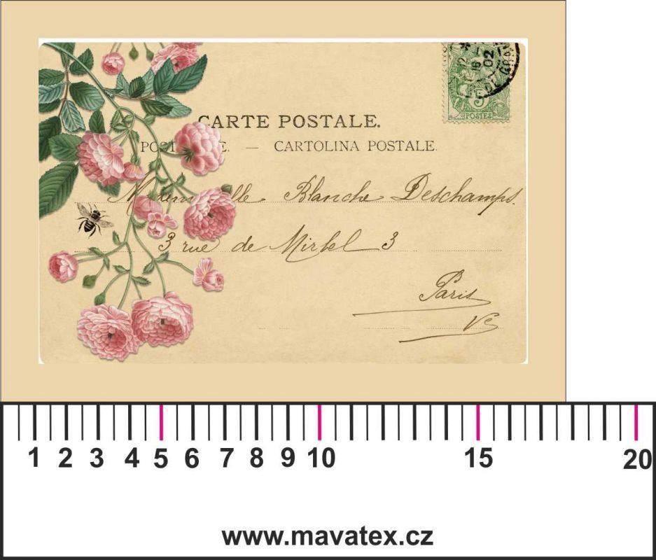 Panelový tisk -vintage pohlednice růžové růže-kepr - obrázky na látce, designový tisk, tisk na přání Tukan
