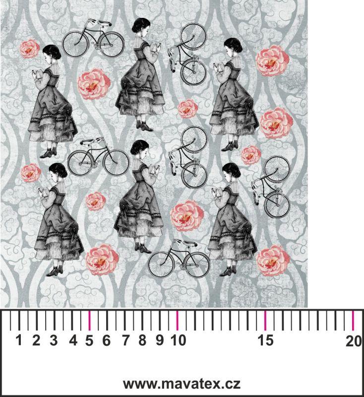 Panelový tisk-koláž šedé děvče - kepr - kepr - kepr obrázky na látce, designový tisk, tisk na přání Tukan