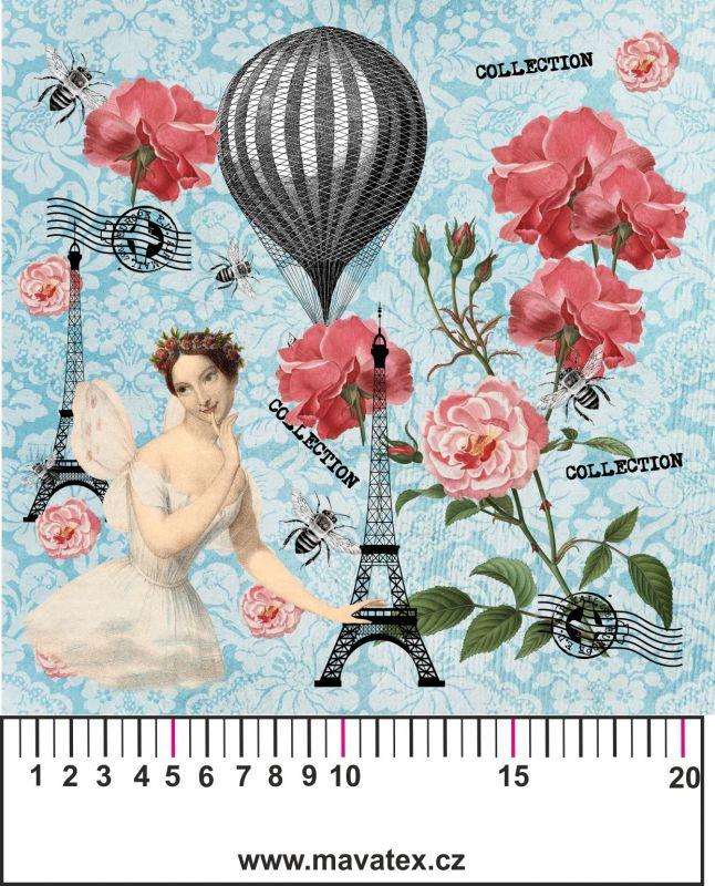Panelový tisk- modrá koláž- kepr- obrázky na látce, designový tisk, tisk na přání Tukan