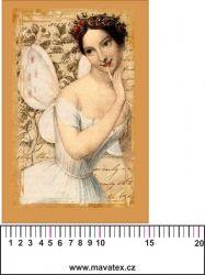 Panelový tisk vintage pohlednice dívka 5- kepr