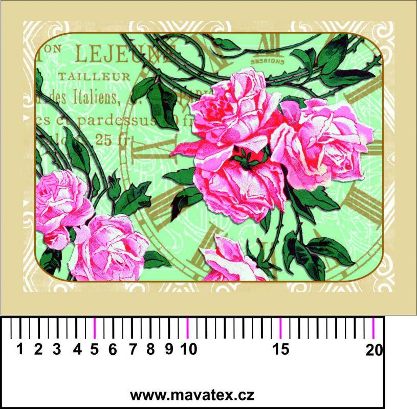 Panelový tisk -vintage pohlednice růže a hodiny - kepr - obrázky na látce, designový tisk, tisk na přání Tukan
