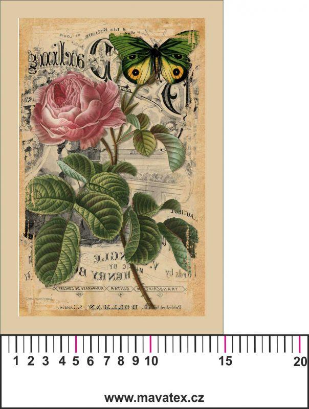 Panelový tisk -vintage pohlednice růže a motýl 2- kepr - obrázky na látce, designový tisk, tisk na přání Tukan