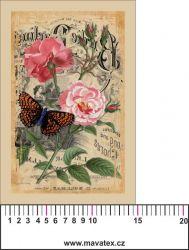 Panelový tisk -vintage pohlednice velká růžová růže a motýl-kepr