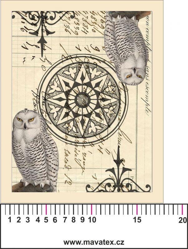 Panelový tisk- vintage sova 2- kepr- obrázky na látce, designový tisk, tisk na přání Tukan