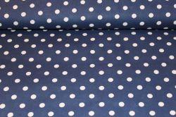 Tmavě modrá bavlna se středními bílými puntíky