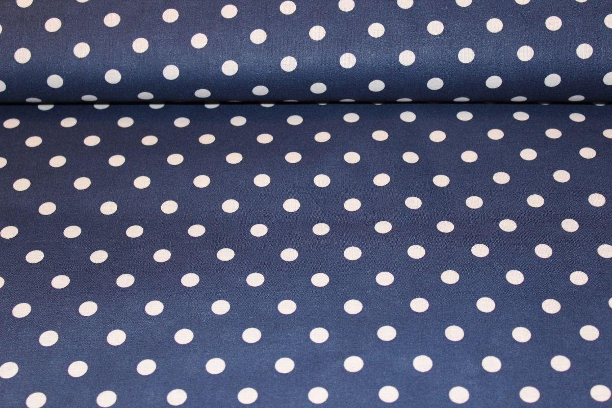 Tmavě modrá bavlna se středními bílými puntíky - látka puntíky český výrobce