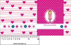Zdravotní průkaz růžový holčička se srdíčky- obrázky na látce, designový tisk, tisk na přání vyrobeno v EU- atest pro děti bavlna