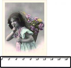 panelový tisk - dívka s nůší - bavlna-malá