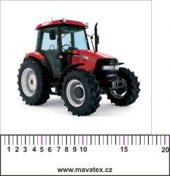 Traktor červený- aplikace k našití - satén