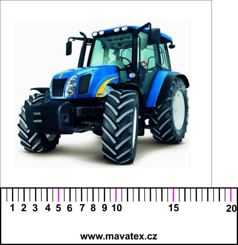 Traktor modrý - aplikace k našití vyrobeno v EU- atest pro děti bavlna