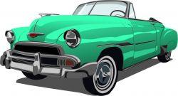 auto zelené - aplikace k našití- satén