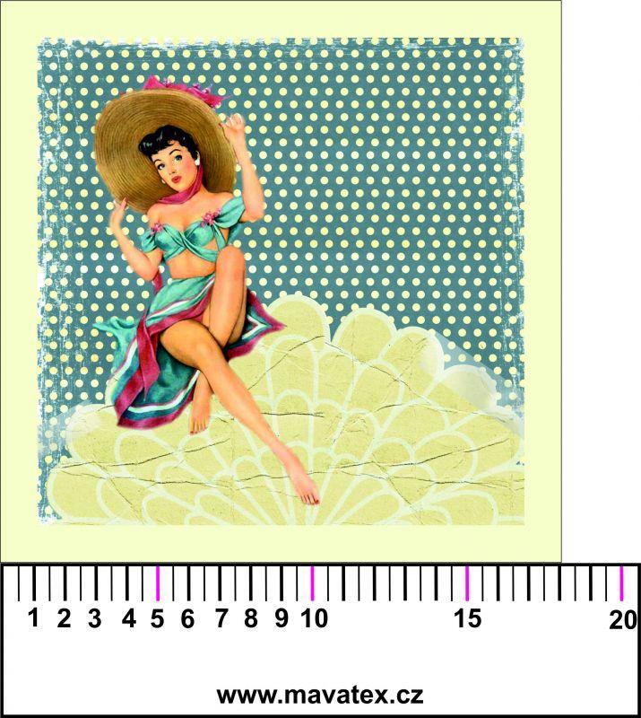 Panelový tisk - retro dívka s kloboukem - obrázky na látce, designový tisk, tisk na přání Tukan