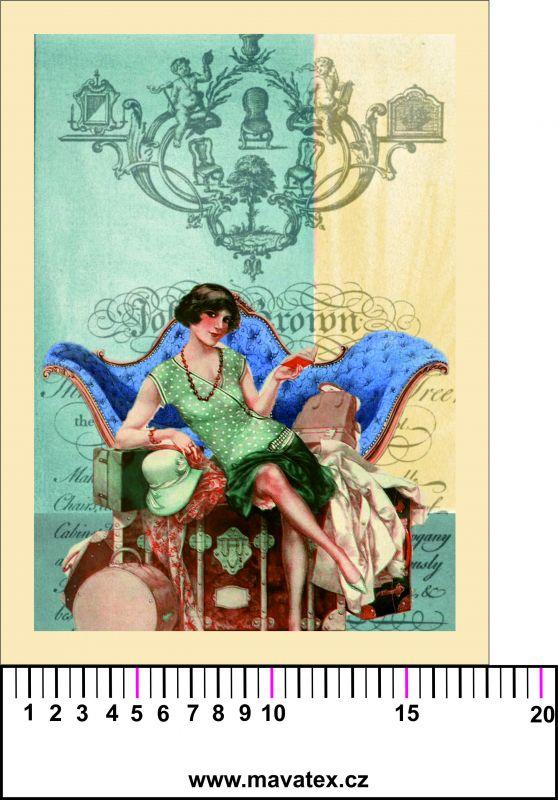Panelový tisk - Francouzká dívka na gauči - obrázky na látce, designový tisk, tisk na přání Tukan