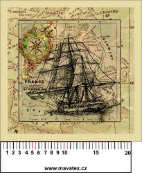 Panelový tisk - Loď na staré mapě-kepr