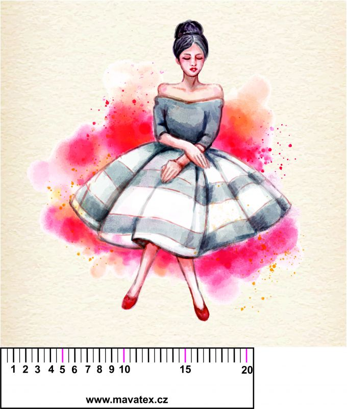 Panelový tisk - dívka akvarel- tisk obrázků, obrázky na látce Tukan