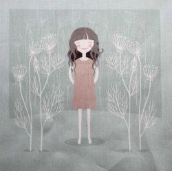 Panelový tisk - holčička v zimní krajině-kepr