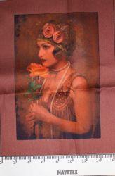 Panel dívka s růží-kepr