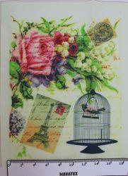 Panelový tisk ptáček v kleci- malý-kepr