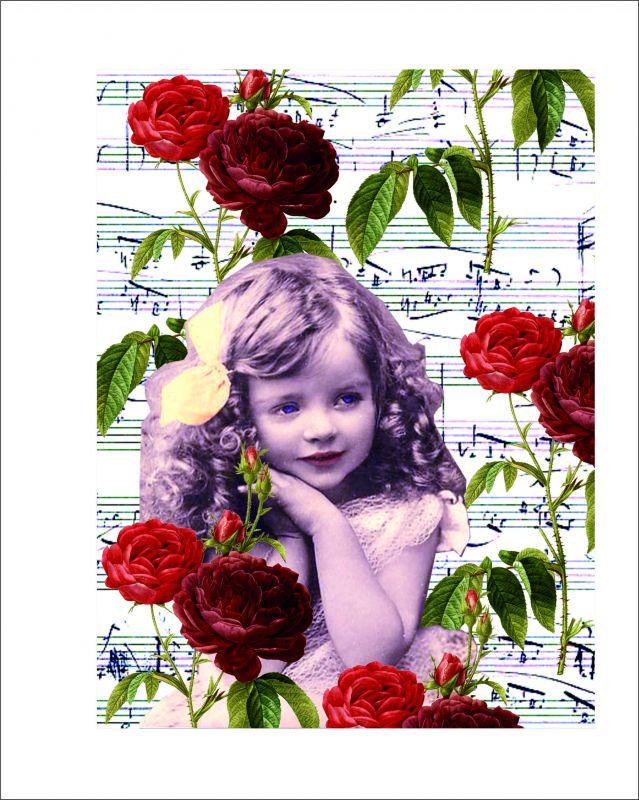 Panel holčička s notičkami a růžemi na bílém podkladu- tisk obrázků, obrázky na látce Tukan