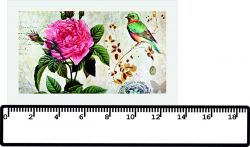 panelový tisk ptáček s růží-kepr