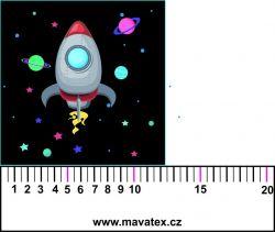 Panelový tisk - vesmírná loď černá-kepr